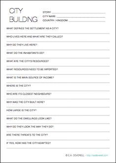 Worldbuilding Worksheet: Cities