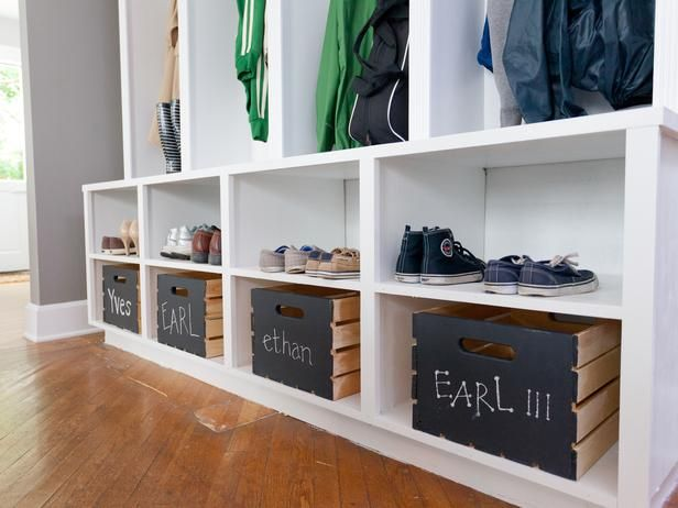 Transitional Entryways from Anthony Carrino on HGTV=painted chalk bd crates for storage id
