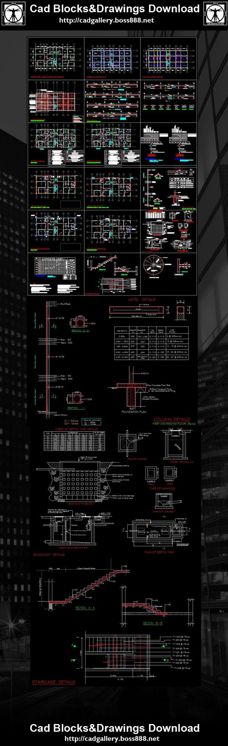 Download Free Cad Blocks and Drawings now!! (https://www.cadblocksdownload.com/)Structure Drawings,Structure Details,Building Details ,CAD drawings downloadable in dwg files