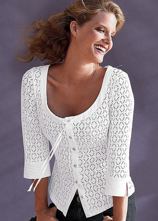 White Scoop neck blouse from VENUS. Available in sizes XS-L!