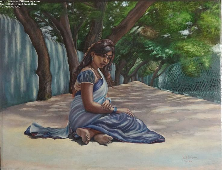 Anna Nagar Park Girl Oil Paintings For Online Indian Art Gallery