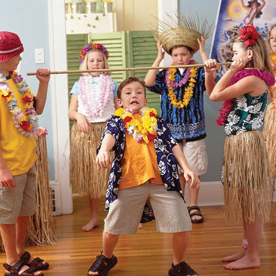 Thanks to its island origin, the limbo is the perfect party game for your luau. It's also so easy to play. Let two people hold a bamboo stick (or broomstick), while each child tries to lean back and dip beneath it. After each round, lower the stick a little bit.