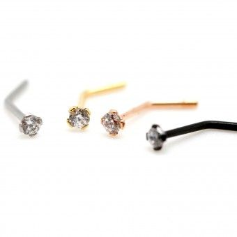 Piercing Nez Tige en L solitaire anodized cristal serti griffe