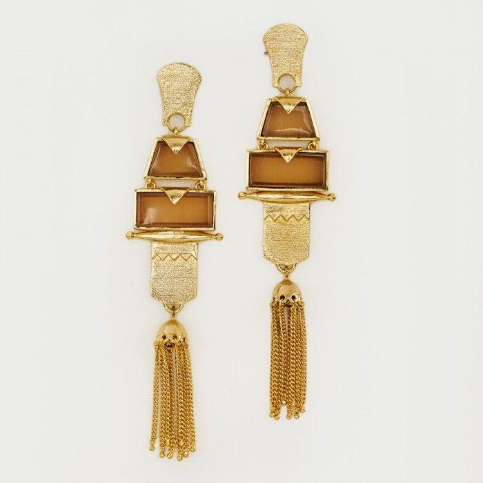 The Label Life – Long Gold & Clear Stone Tassel Earrings