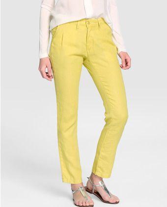 Pantalón recto de mujer Indi&Cold en color amarillo