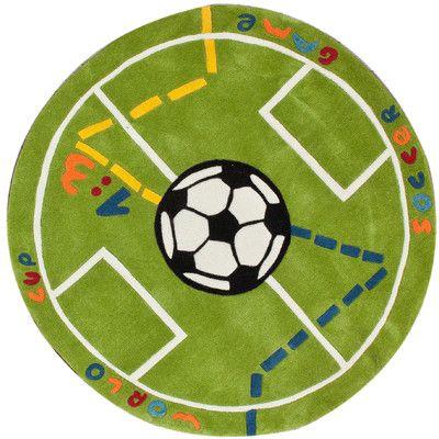 NuLOOM KinderLOOM Soccer Field Green Kids Rug