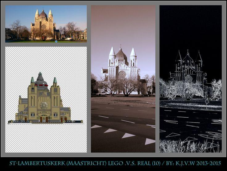 [ st-lambertuskerk lego .v.s. real part 10 ]    10  of the 19 photo's from my collage of St-Lambertuskerk (Maastricht) ((Non-lego))