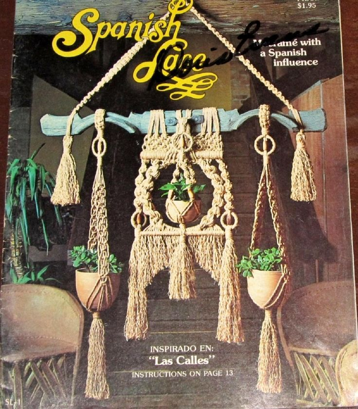 Vintage 1970s Spanish Lace Macrame Craft Instructions Book by Pat Brown Rustic Traditional Style Wall Hangings Plant Pot Hangers 31 Pages by RosesPatternsEtc on Etsy