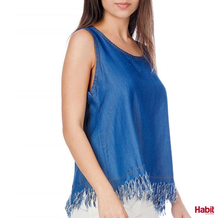 Τοπ τζίν με άνοιγμα στην πλάτη. • Κωδικός: 703108 • Τιμή: 17,99 • Χρώμα: Ίντιγκο • Μέγεθος: One Size  (online shopping loading... 📻 stay tuned) #habit #fashion #habitfashion #loveforfashion #everyday #somethingnew #tops #denim #laceup #tencel #newcollection #trends #bodysuit #pants #jeans