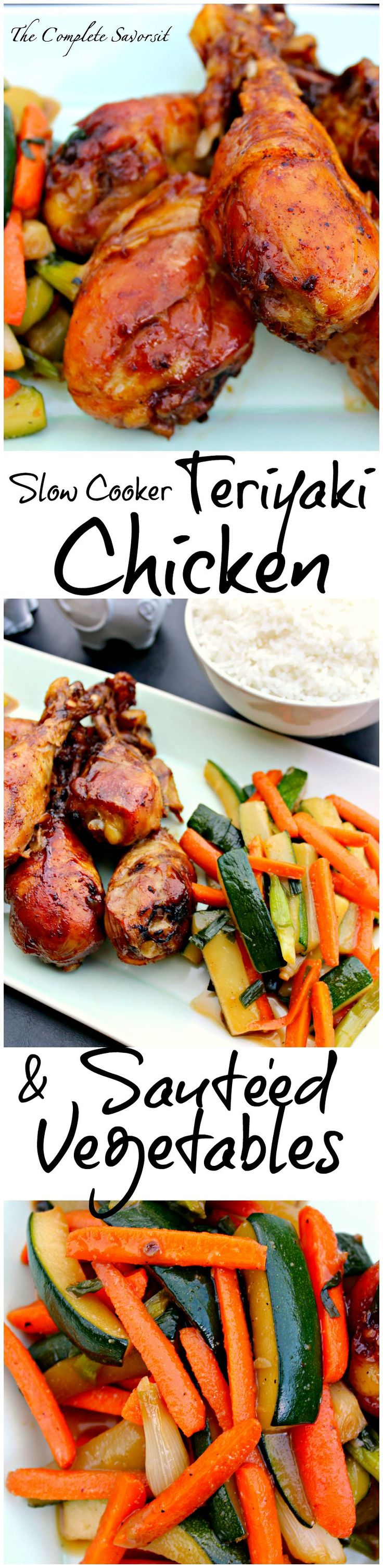 Slow Cooker Teriyaki Chicken Drummers and Sautéed Vegetables ~ The Complete Savorist
