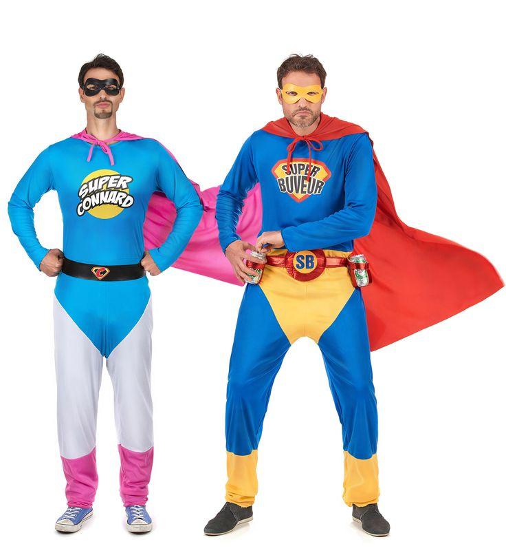 Déguisements duo Super Connard et Super Buveur  : Ce lot se compose de 2 déguisements de super héros pour homme.- Déguisement Super Connard hommeCe déguisement de super Connard pour homme se compose d'une...