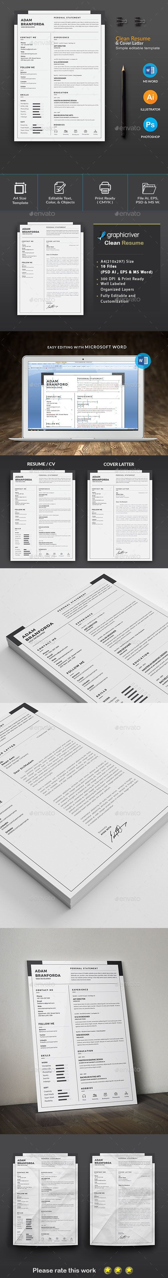 Clean Resume Download%0A  Resume   Cv  Resumes Stationery Download here  https   graphicriver