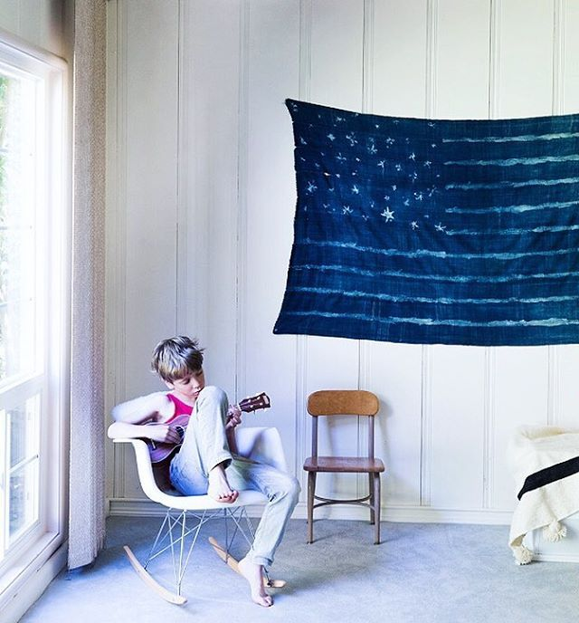 DIY indigo American flag for 4th of July