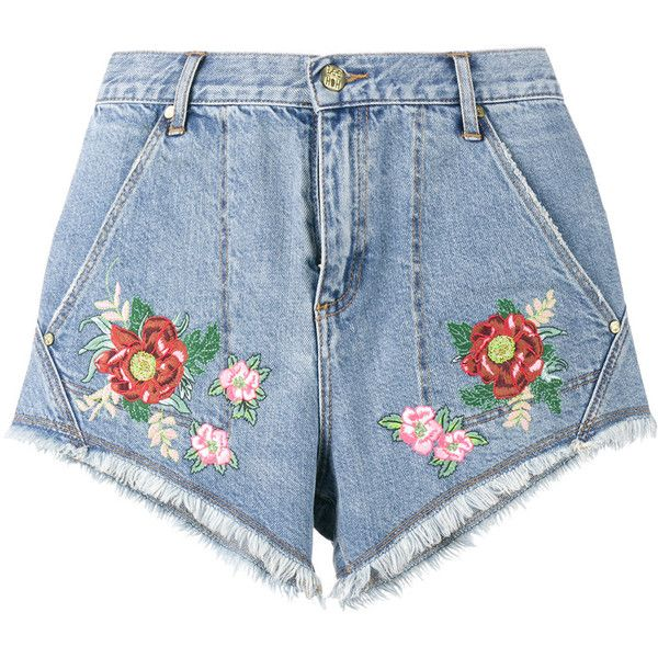 House Of Holland House Of Holland X Lee Flower Embroidered Denim... ($143) ❤ liked on Polyvore featuring shorts, bottoms, jean shorts, house of holland, denim short shorts, denim shorts and blue shorts