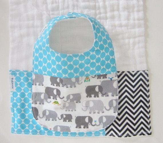 Gift Set Bib and Burp Cloth - Aqua Grey Elephants