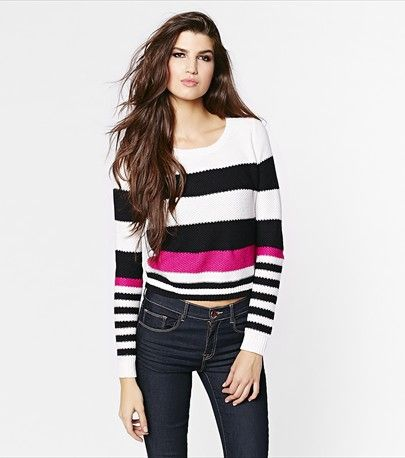 #DYNHOLIDAY Stripe a pose! This cropped crew neck sweater will add a pop of color to your look. Pair it with high waist pants.