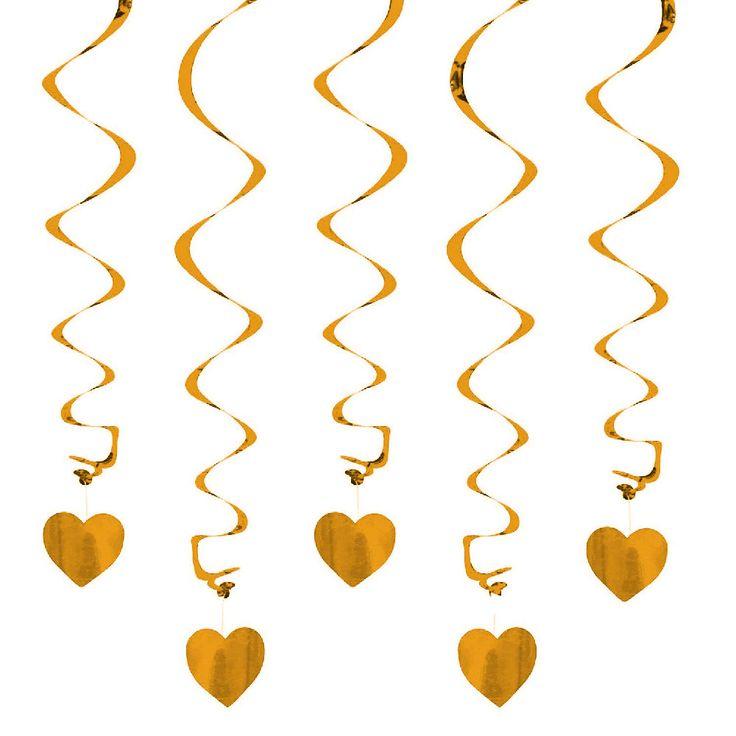 5 Deckenhänger Spiral Girlande mit Herz - champagner-gold in Feierlichkeiten / Anlässe   • Geburtstag Jubiläum • Decken Hänger • Girlanden