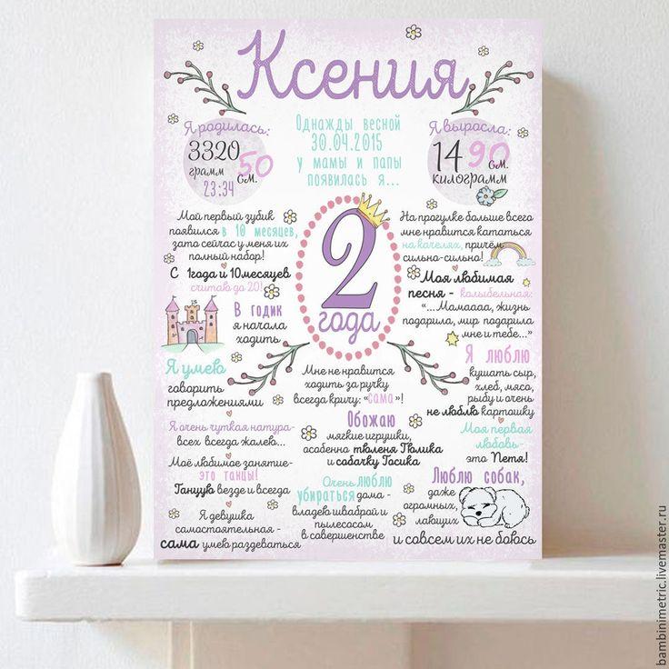 Купить Постер достижений на 1 год - бледно-сиреневый, постер, постер 1 год, постер детский
