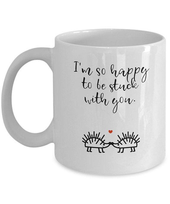 06747a67a3a Hedgehog coffee mug Funny romantic mugs I'm happy to be stuck with you  Hedgehog mug Cute hedgehogs mug Hedgehog owner gift Hedgehog love cup