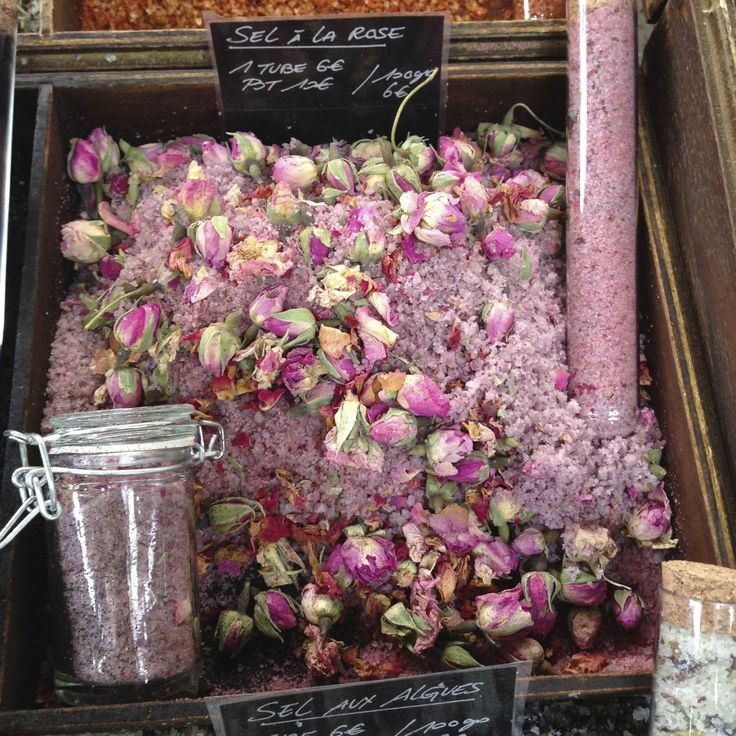 10 Things You Need To Buy When You're In France. #4, tubs of salt infused with rose blossoms!  http://www.townandcountrymag.com/style/collectibles/tips/a2528/10-things-you-need-to-buy-when-youre-in-france/?click=_hpTrnsprtr_2&src=spr_FBPAGE&spr_id=1454_113088332