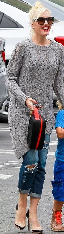 Who made  Gwen Stefani's nude pumps, gray cable knit sweater, and black sunglasses?