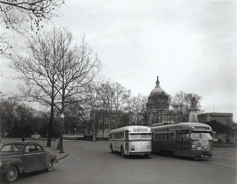 Capital Transit White Super Power Motor Coach and PCC Streetcar at Peace Monument (1940s). These buses served nearly every bus line on the system. Washington had nearly 1,000 PCCs.1 000 Pccs, Buses Servings, Pcc Streetcar