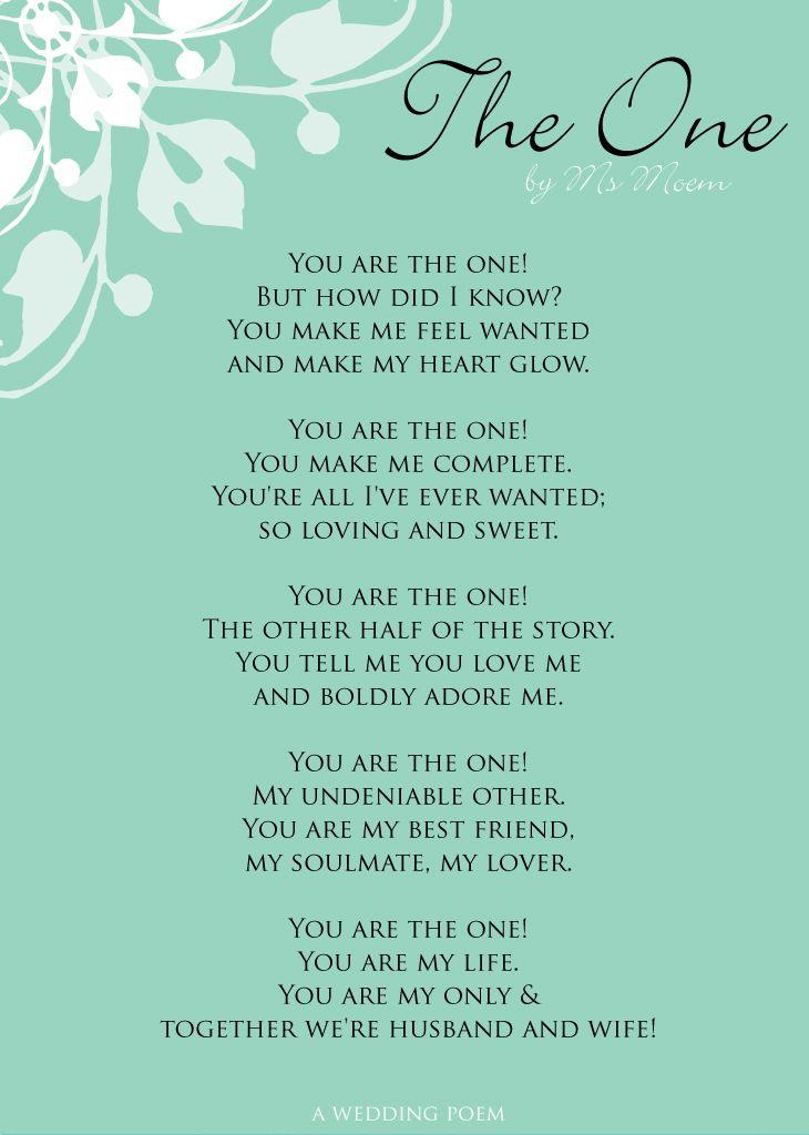 The One | A Wedding Poem | Ms Moem | Poems. Life. Etc