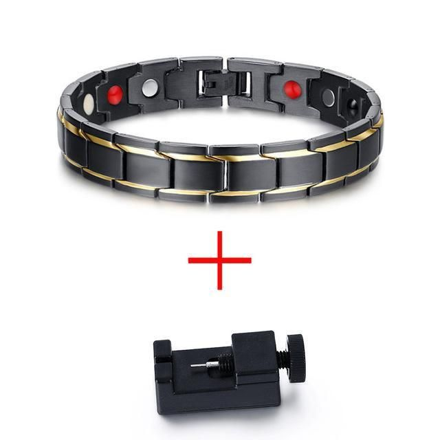 Black & Gold Lined Stainless Steel Chain 4in1 Magnetic Therapy Bracelet