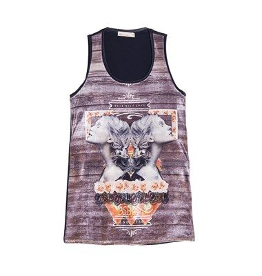 Velour longline top with print