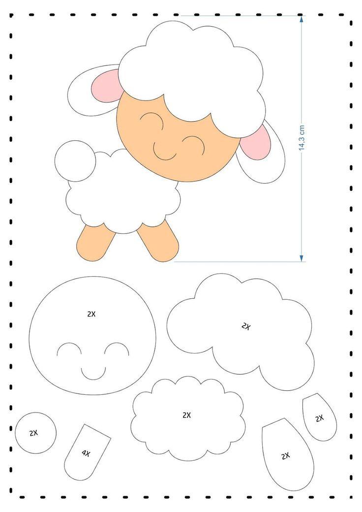Download de moldes lindos de ovelhas em feltro!