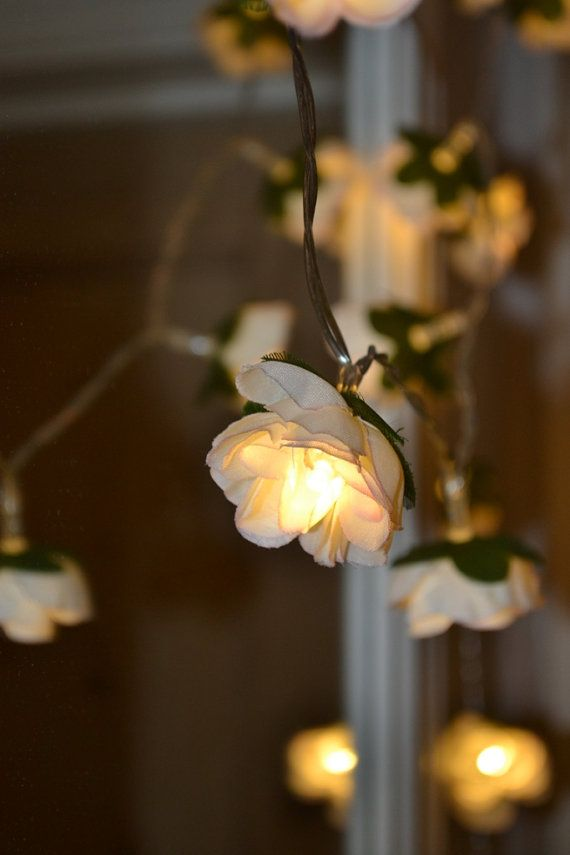 String Led Lights For Bedroom : 20 LED Rose flowers battery string fairy lights ivory and pink, bedro?