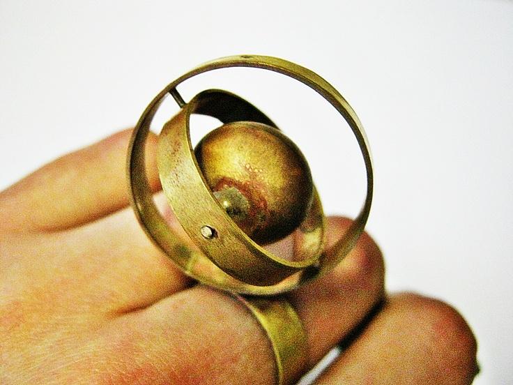 Gyroscope globe ring. Kinetic. Brass. Jewellery ...