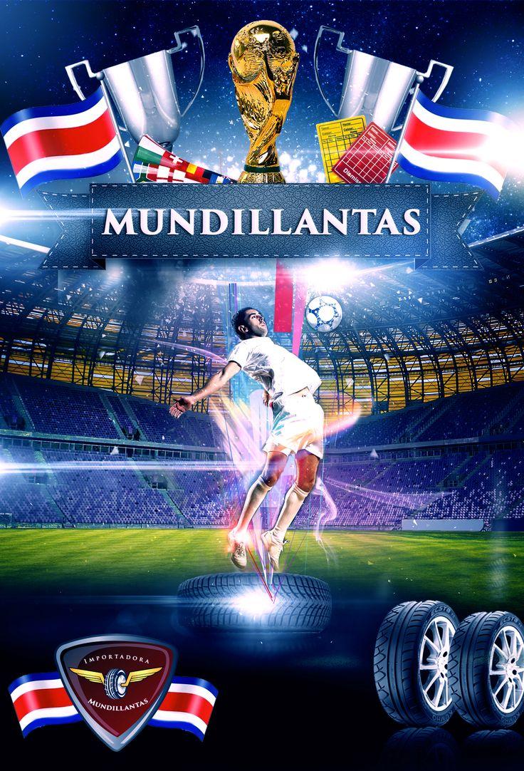 Diseño para flyer del mundial 2014 para empresa Mundillantas.