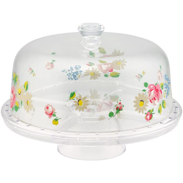 Daisies & Roses Border Plastic Cake Stand   View All   CathKidston ($48) ❤ liked on Polyvore featuring home, kitchen & dining, serveware, rose cake stand, plastic serveware, plastic cake stands, plastic cake pedestal and plastic cake stand