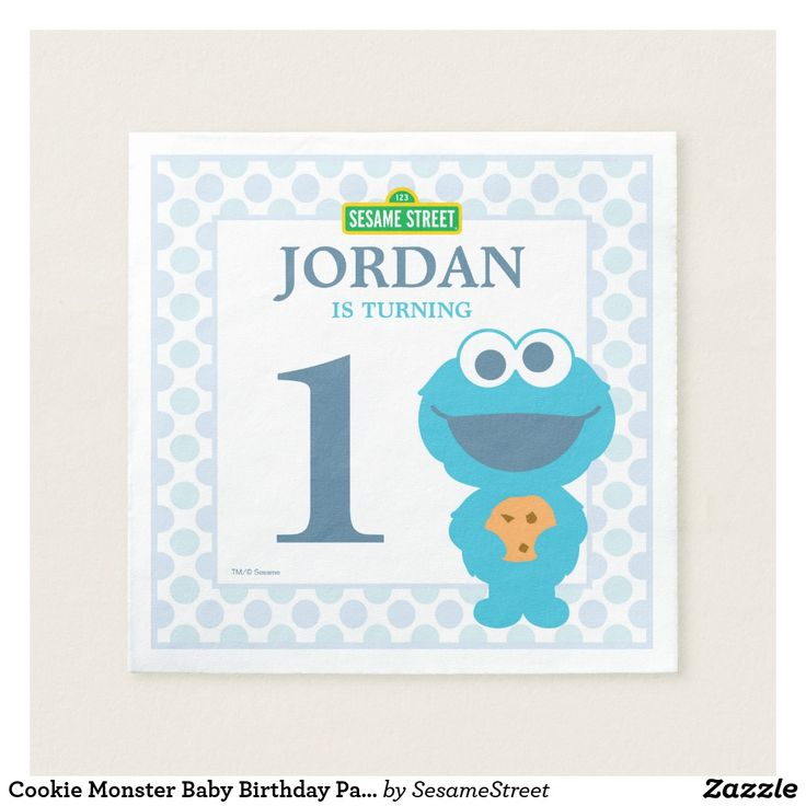 Cookie Monster Baby Birthday Paper Napkins Baby Cookie Monster's got googly eyes for your cookies! This item is recommended for ages 2+. © 2014 Sesame Workshop. www.sesamestreet.org