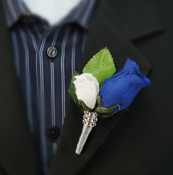 Boutonniere - Royal Blue Rosebud with Mini White, Silver Stem