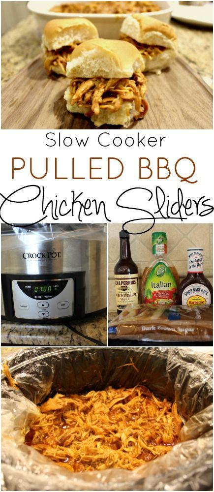 Slow Cooker Pulled BBQ Chicken sliders - super easy family friendly crock pot dinner