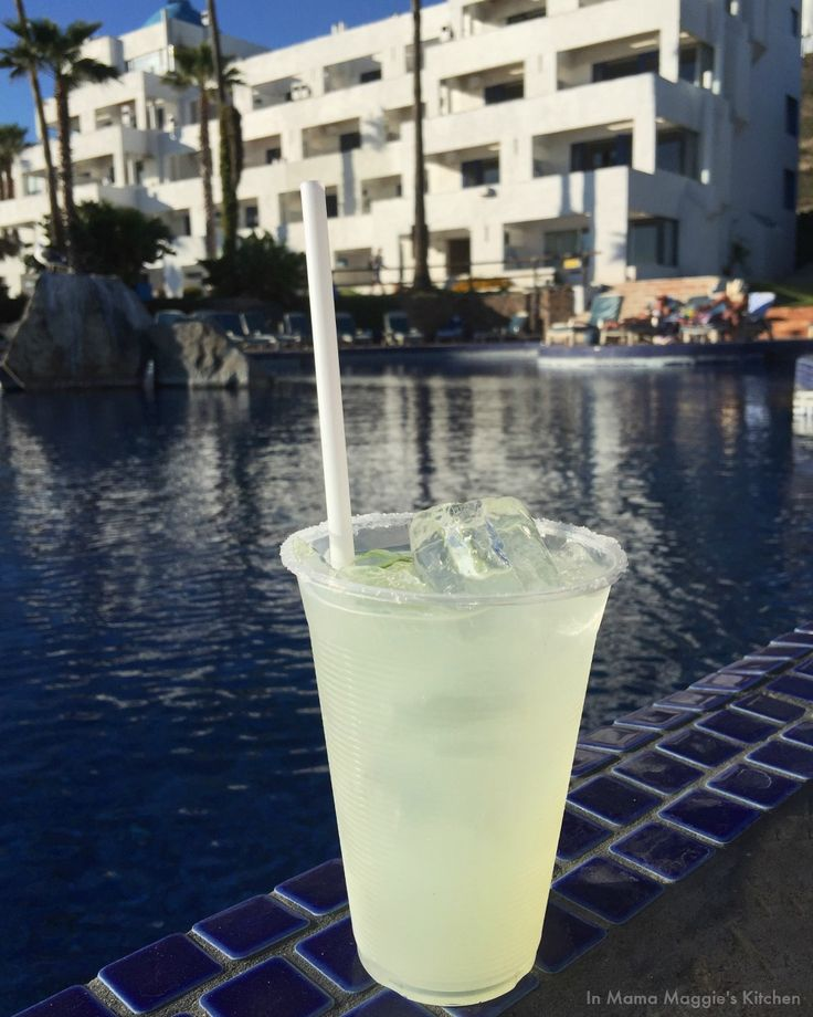 Margarita by the pool at Las Rocas in Rosarito, Mexico - Mama Maggie's Kitchen