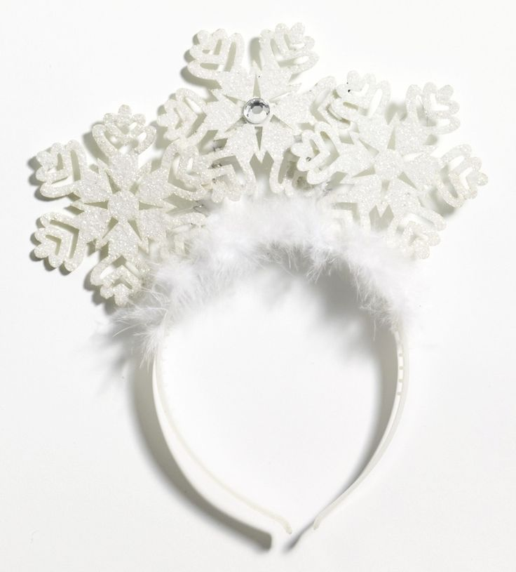 * Includes: Christmas snow flake headband * Three glitter snow flakes bounce from the white fur lined headband * One size fits most * Great for holiday plays and gatherings! * Brand new in manufacture