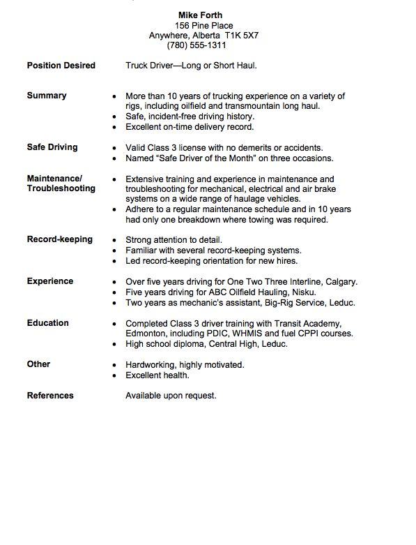 Long Haul Truck Driver Resume Example - http://resumesdesign.com/long-haul-truck-driver-resume-example/