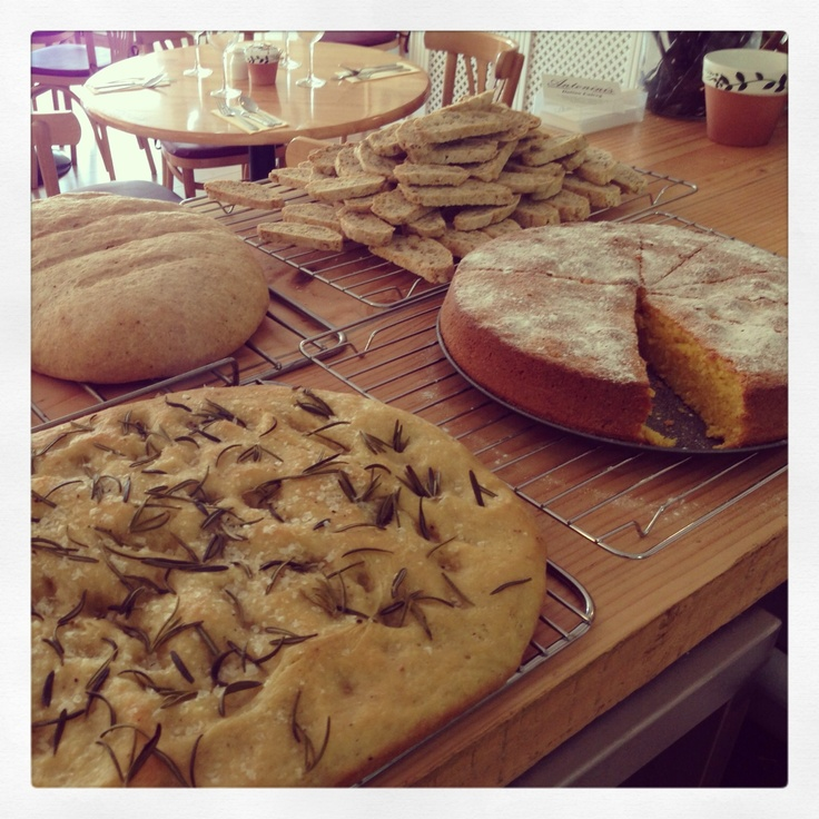 A busy morning baking! Rock salt and rosemary focaccia, Whole meal loaf, Orange polenta cake and Cantuccini! @Antoninishalye Antoninis - Italian Eatery, Cornwall