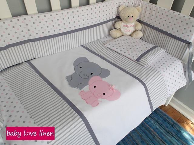 """Mom & Baby"" Ellie Cot Set.  Email barbara@babylovelinen.co.za for more info."