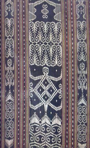 Dagmay Cloth is made of vegetable dyed abaca fibers tie-dyed to create anthropomorphicas well as flora and fauna patterns.This cloth is by the Bagobo people of Davao in Southern Philippines.