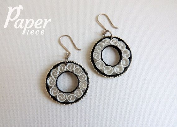 black white earrings paper quilling jewelry by PaperPiecebyEmelie, $44.99