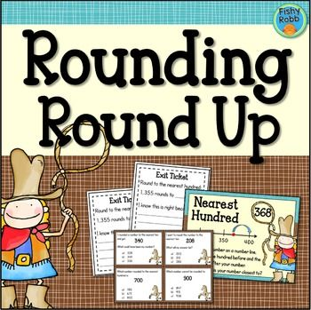 ROUNDING ROUND UP focuses on rounding whole numbers to the nearest 10 and 100, a third grade standard under the Number & Operations In Base Ten strand. Included in this resource are:4 Rounding Anchor Charts16 Task CardsRecording SheetExit Tickets (4 versions)AssessmentAnswer KeysAnchor Charts: Provide visual support and explantation of how to round to the nearest 10 and 100.Task Cards: Students will round whole numbers and identify which numbers round to a target number (For example, what...