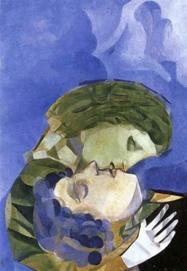 """Lovers"" – Marc Chagall 1913 (1887-1985)  Cubist, Symbolist, Fauve and Surrealist painter"