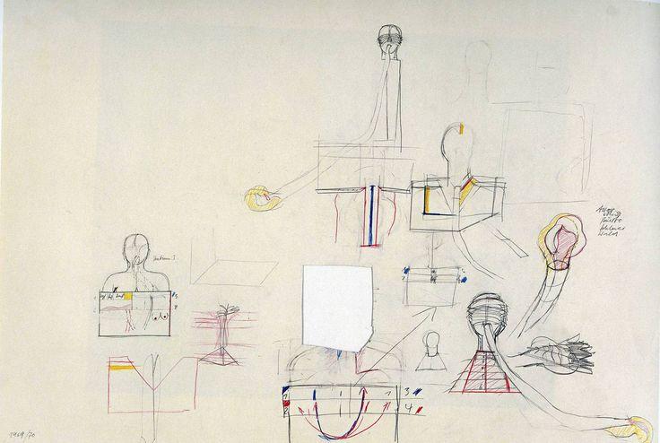 Rebecca Horn | Untitled, 1969-70 [materiali: grafite e pastello su cartone; dimensioni cornice: 900 x 1200 x 40 mm; collezione: Tate]