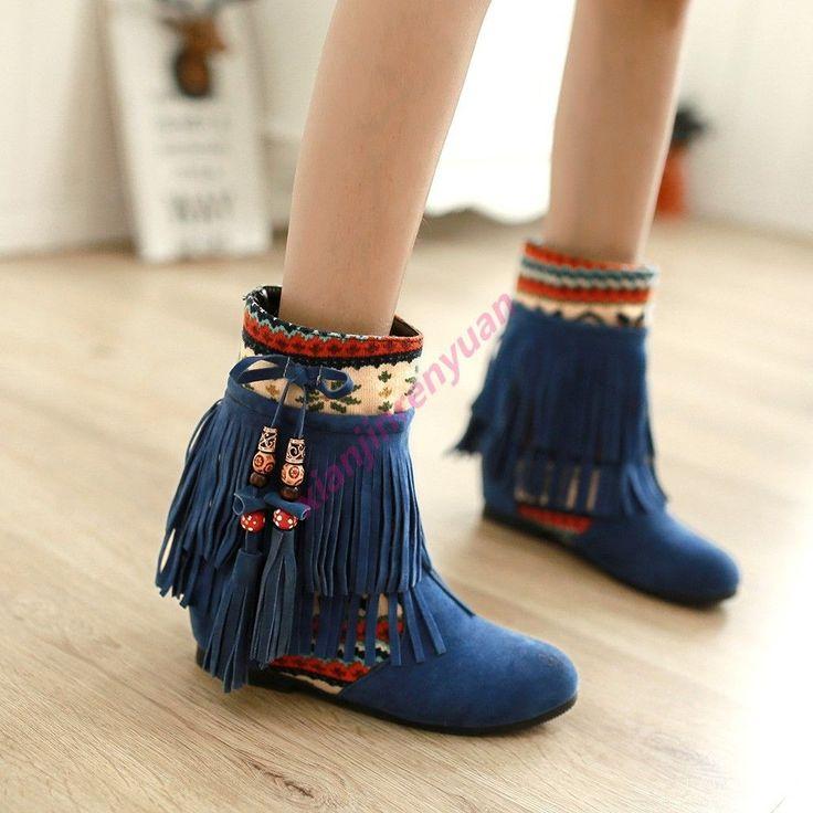 Fashion Women'S Ethnic Trend Tassel Ankle Boots Boho Wedge Hidden Date Preppy Sz