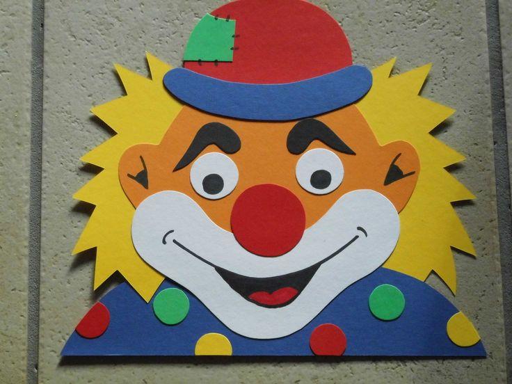 Fensterbild Tonkarton Karneval Fasching Fenstergucker Clown Punkte Deko NEU 1 2