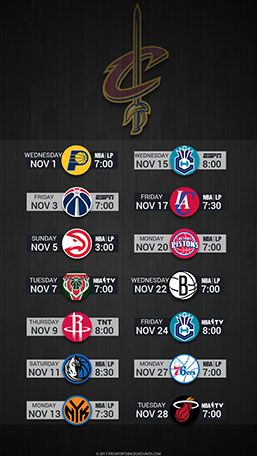 Cleveland Cavaliers 2017 Mobile Schedule Wallpaper v2
